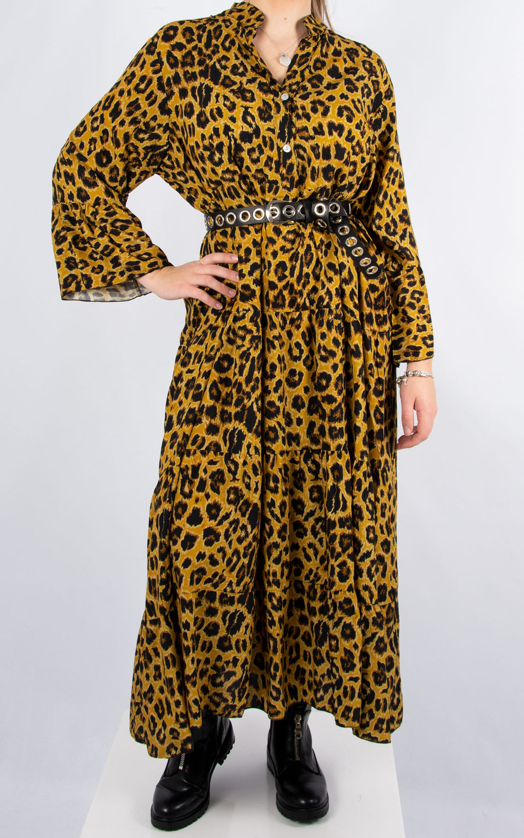 Alex Maxi Dress | Mustard Leopard