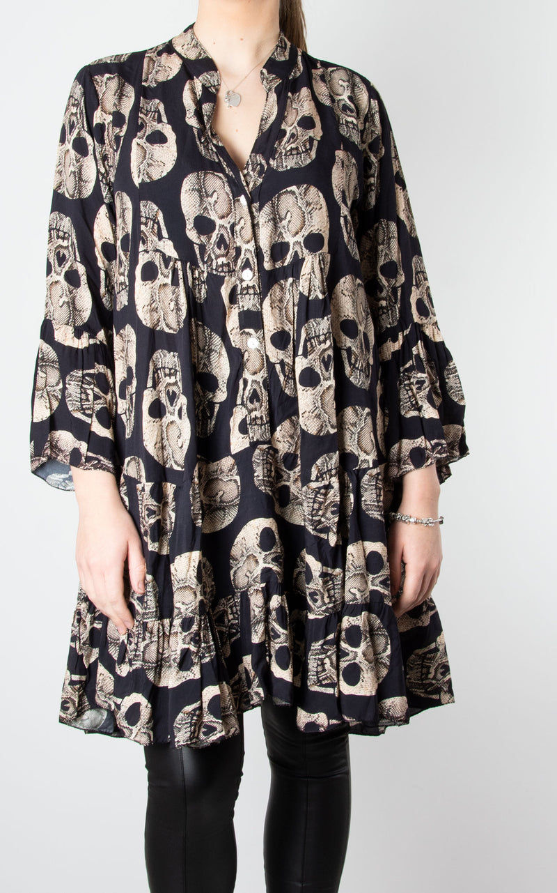 Alex Smock Dress | Black Skull