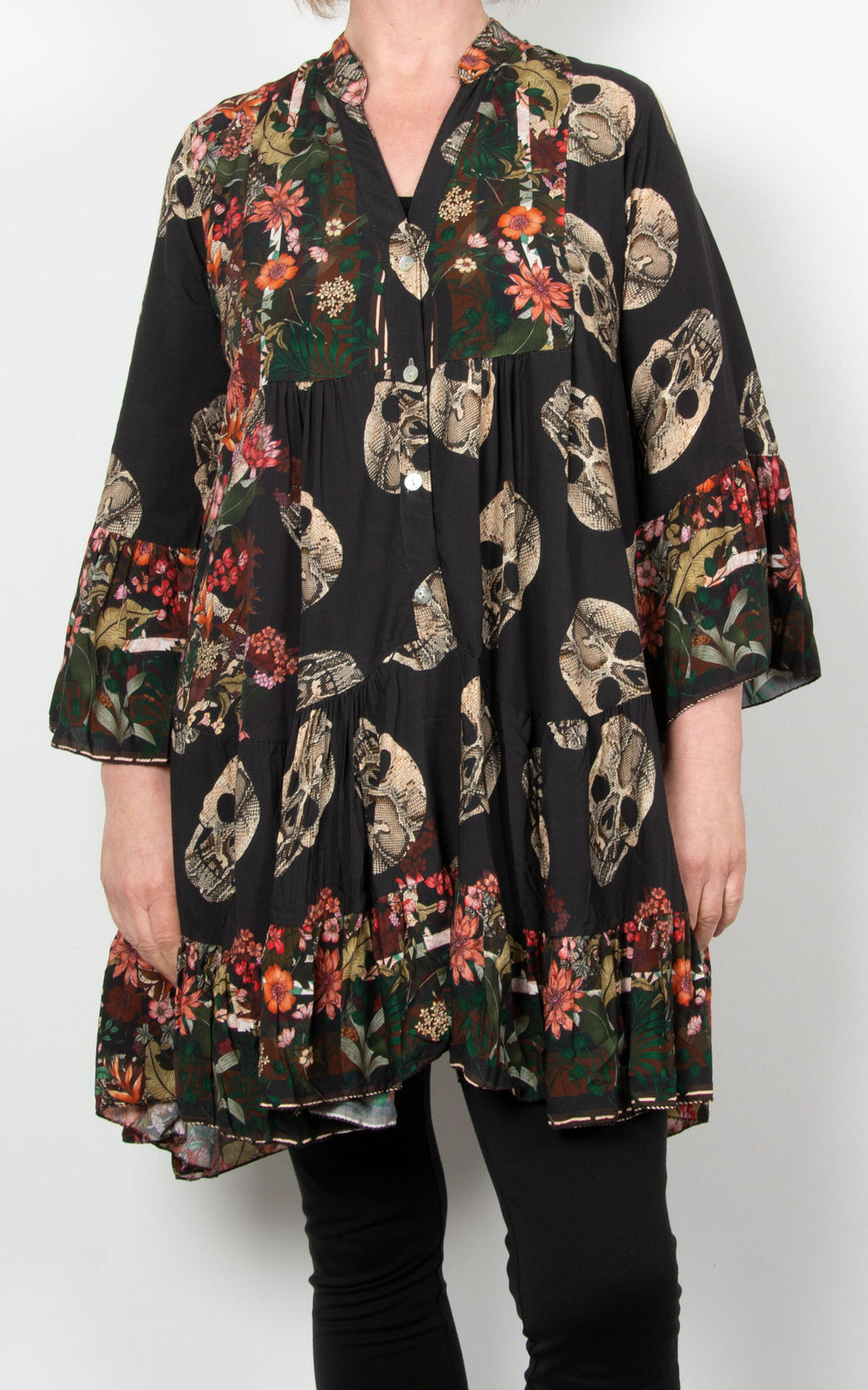 Alex Smock Dress | Skull & Roses | Black