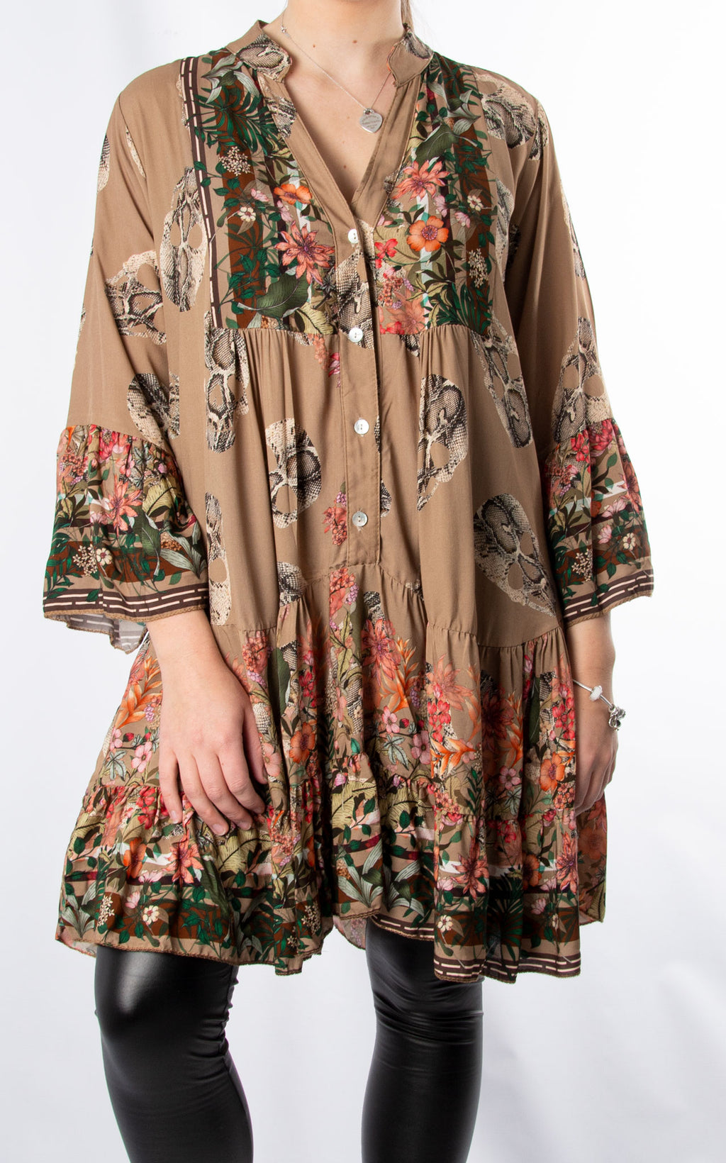 Alex Smock Dress | Skull & Roses | Camel
