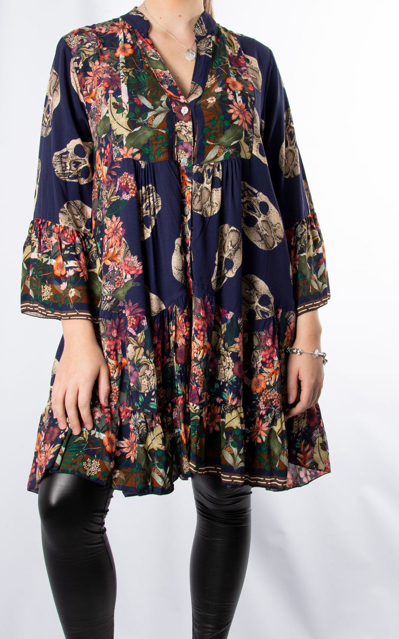 Alex Smock Dress | Skull & Roses | Navy
