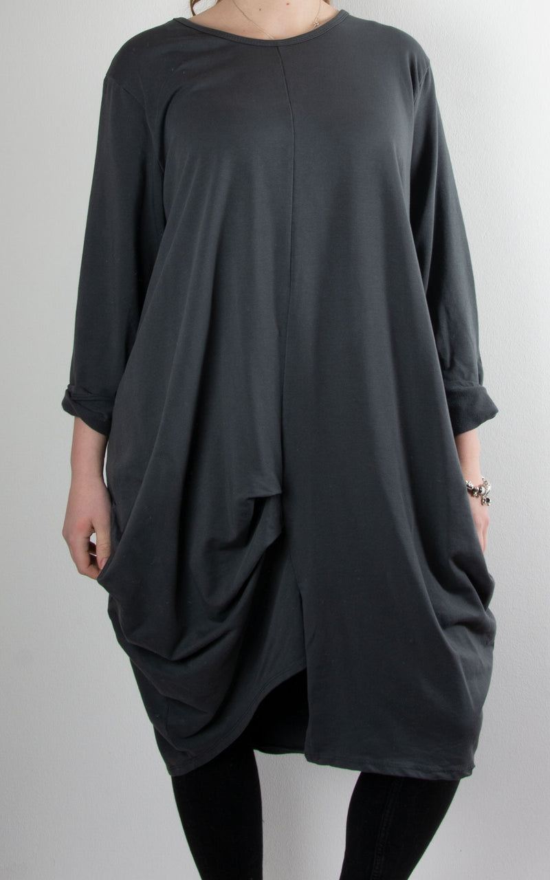 Amber Rouched Tunic | Charcoal