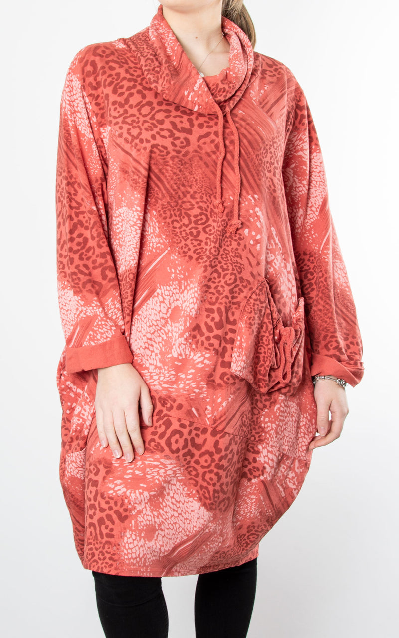 Animal Print Drawstring Tunic | Coral