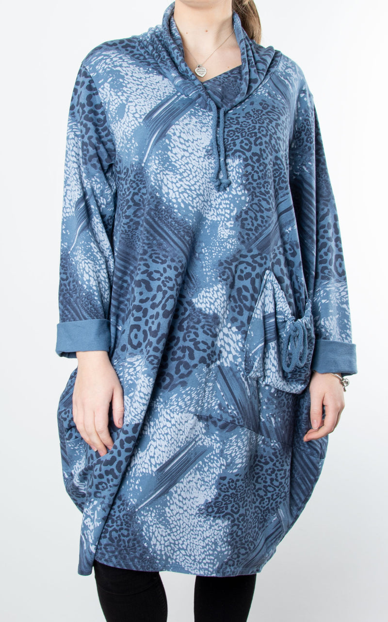 Animal Print Drawstring Tunic | Denim Blue