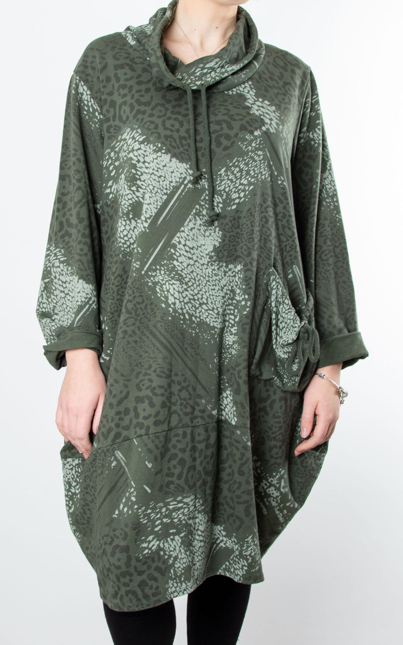 Animal Print Drawstring Tunic | Khaki