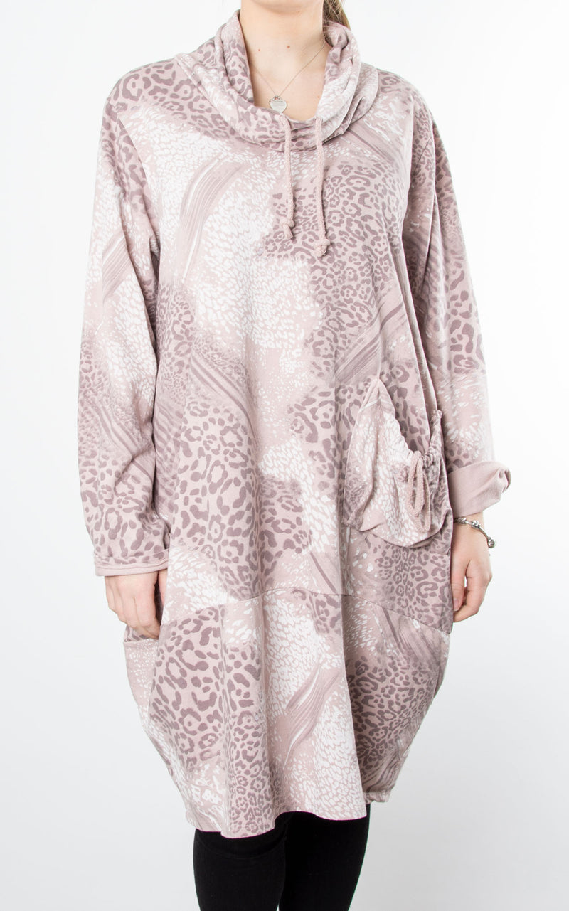 Animal Print Drawstring Tunic | Pink