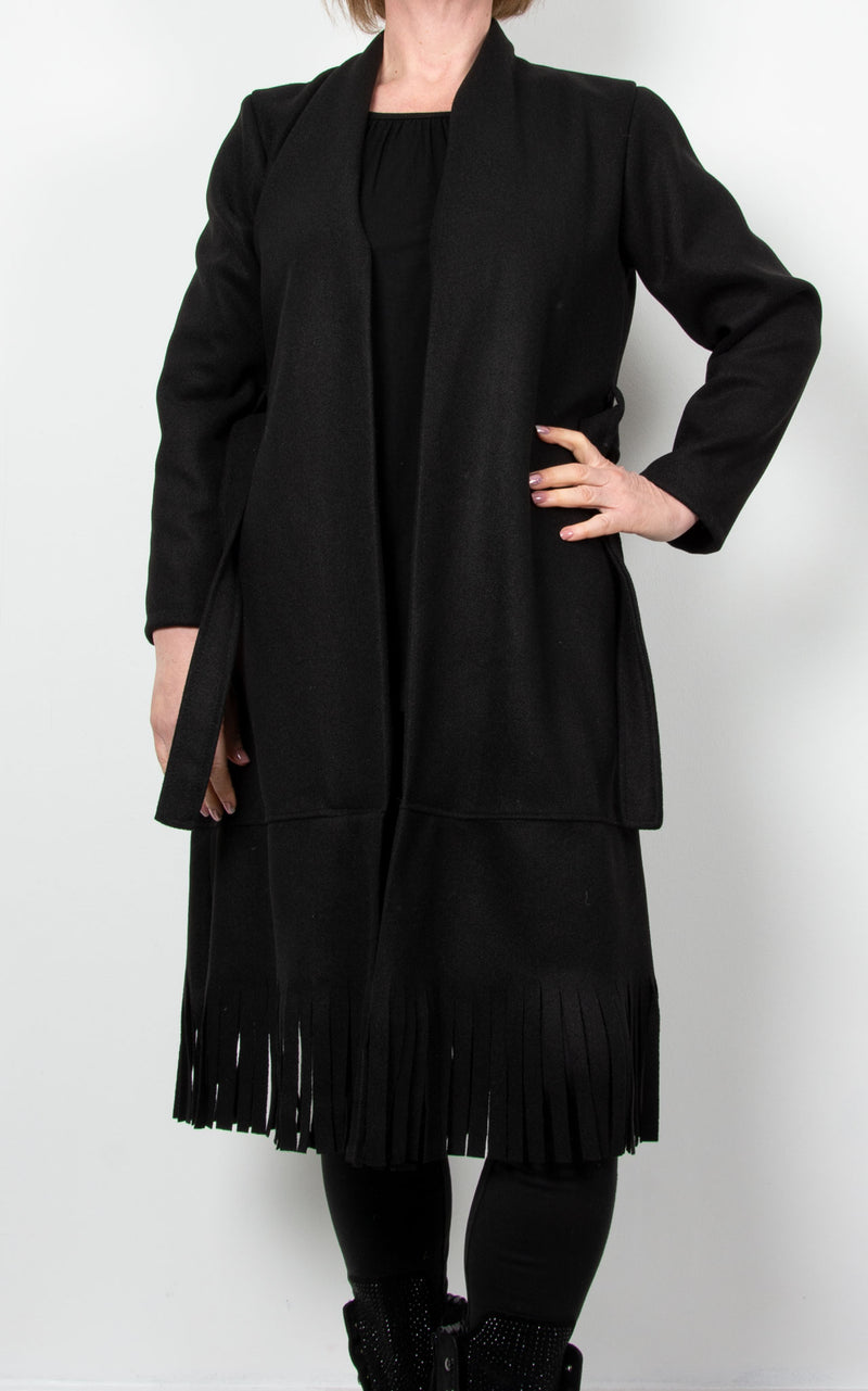 Ashley  Fringe Coat | Black