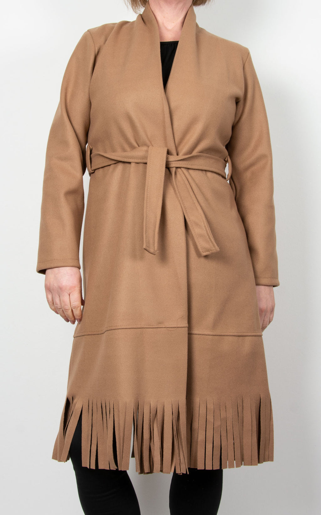 Ashley  Fringe Coat | Camel
