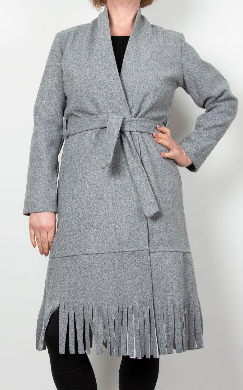 Ashley  Fringe Coat | Grey