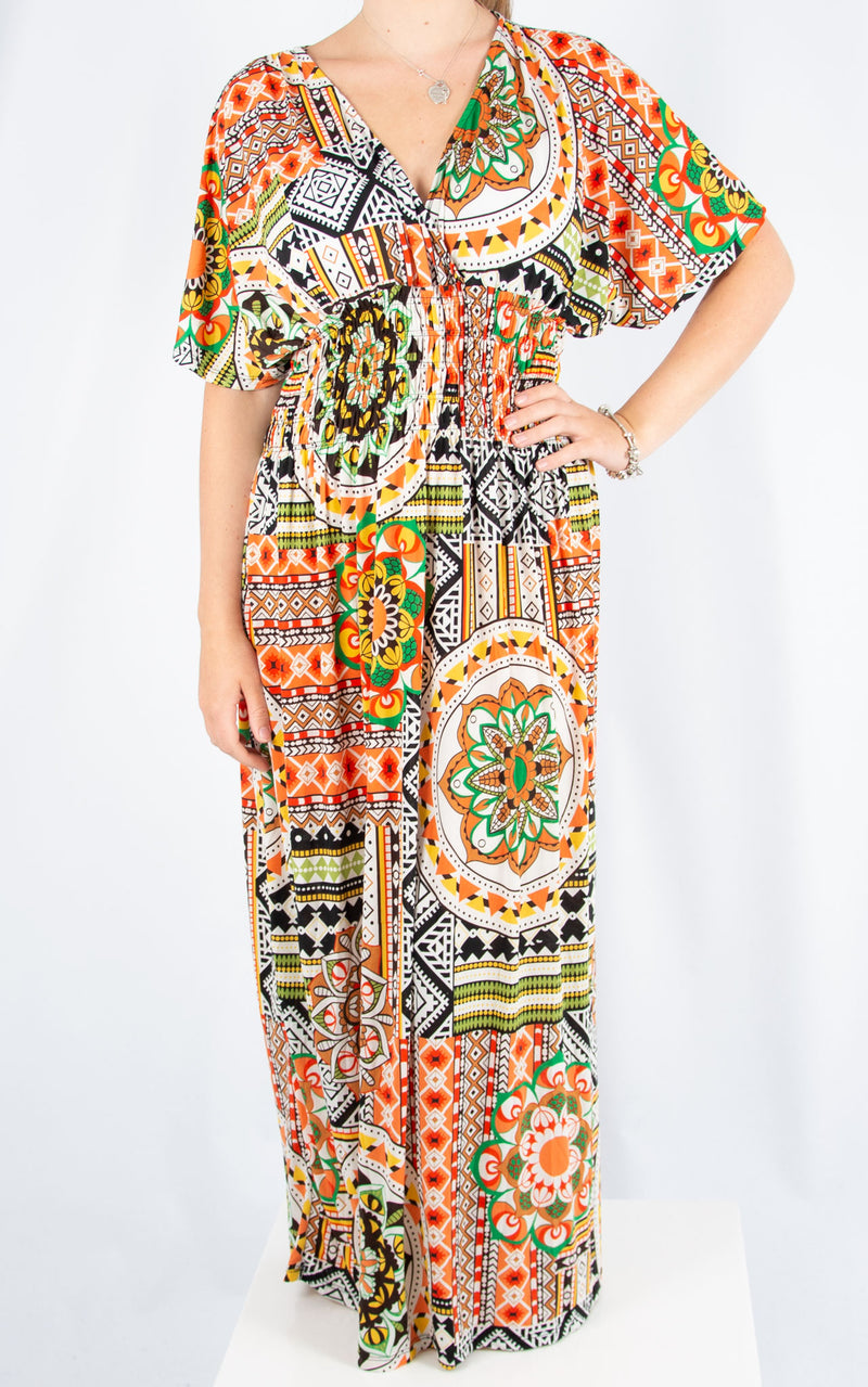 Ava Dress | Orange Mosaic