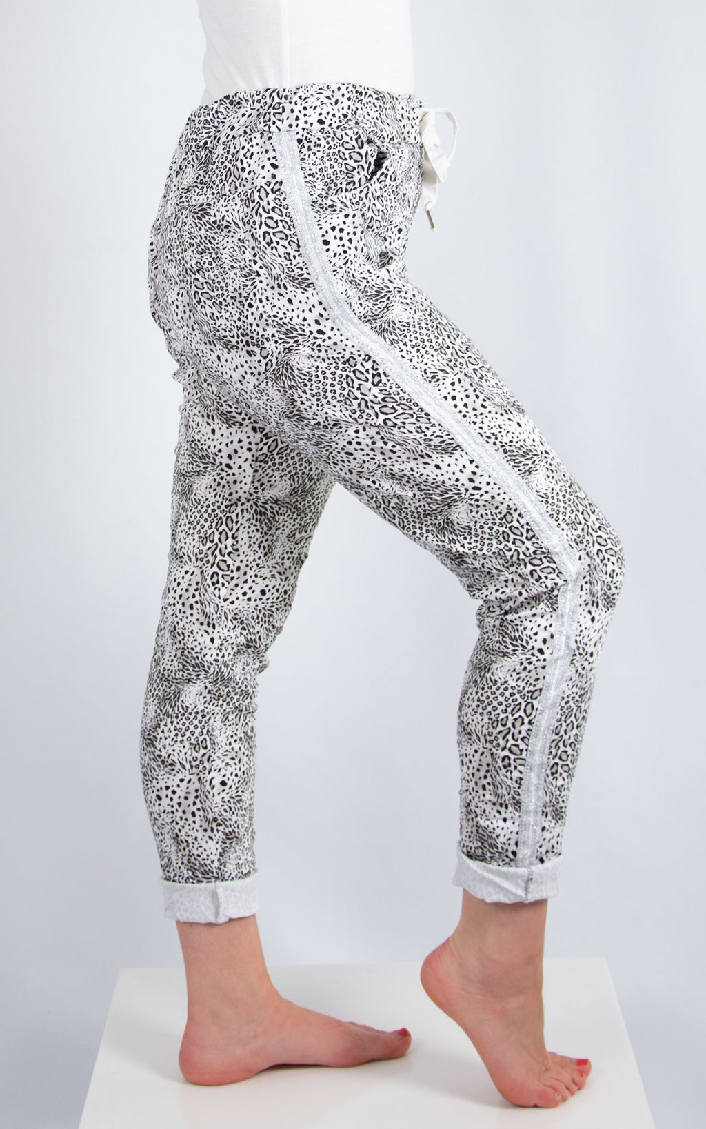 White Leopard Print Joggers | Made in Italy