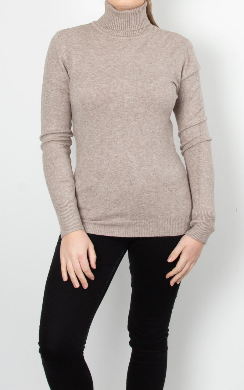Basic Knit Roll Neck | Beige