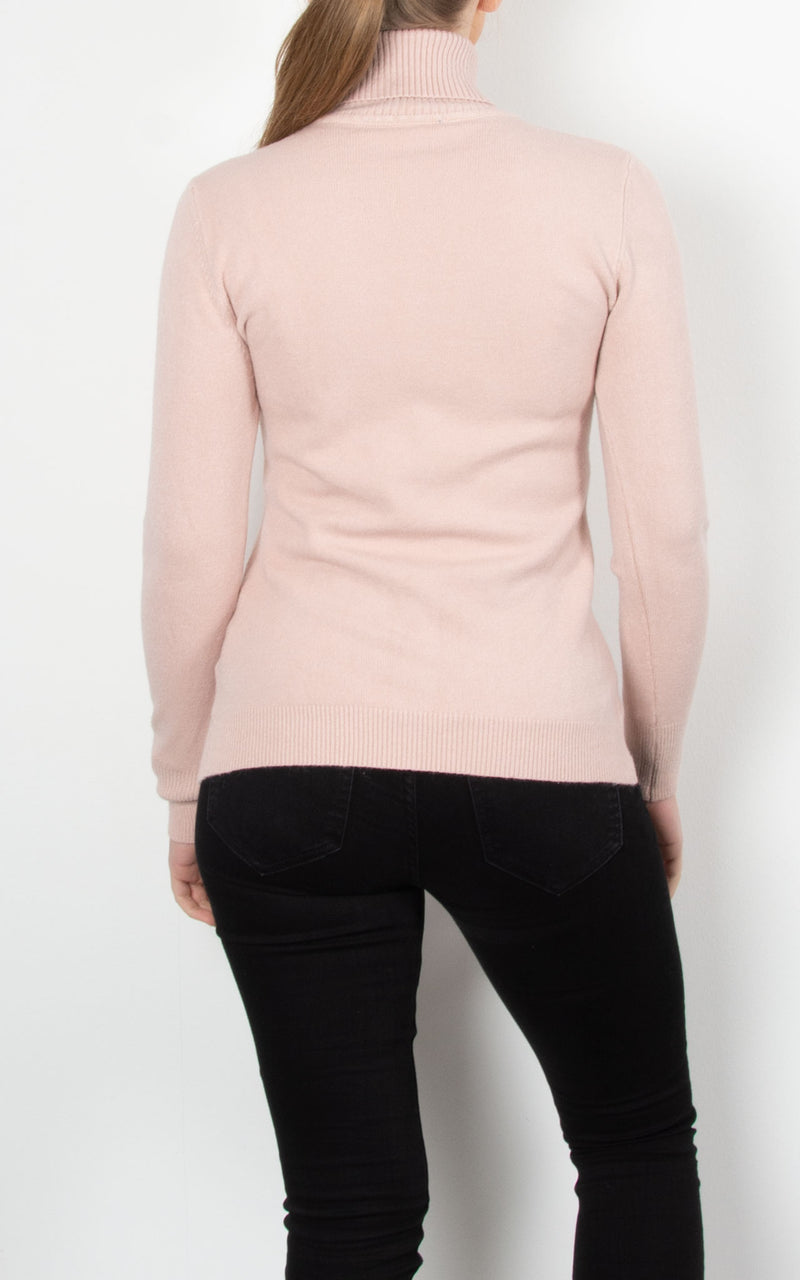 Basic Knit Roll Neck | Pink