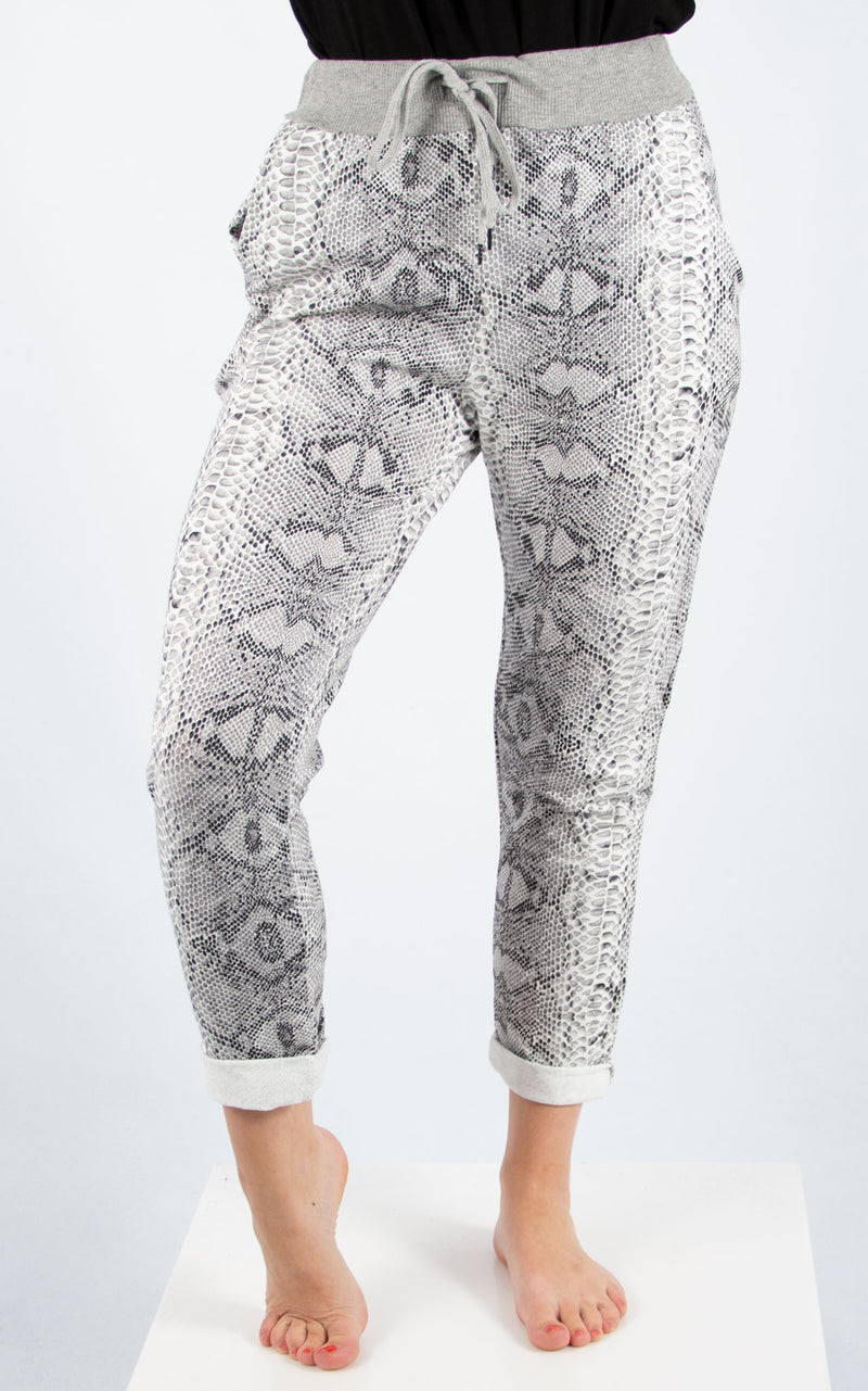 Snake Print Basic Jogger | Made In Italy