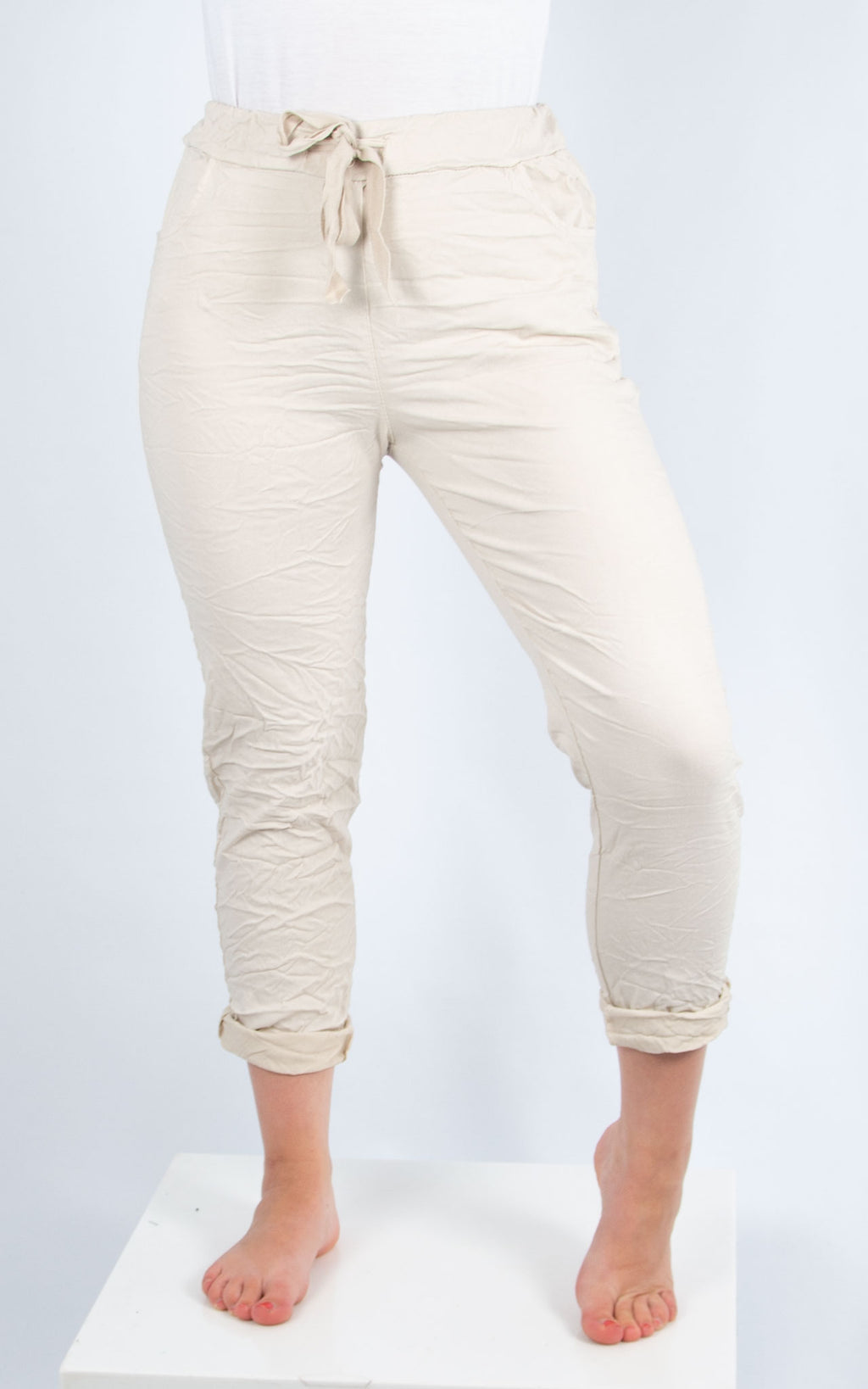 Beige Magic Crinkle Jogger | Made in Italy