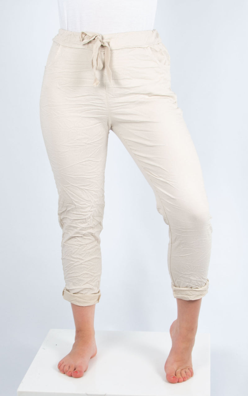 Beige Plain Crinkle Jogger | Made in Italy
