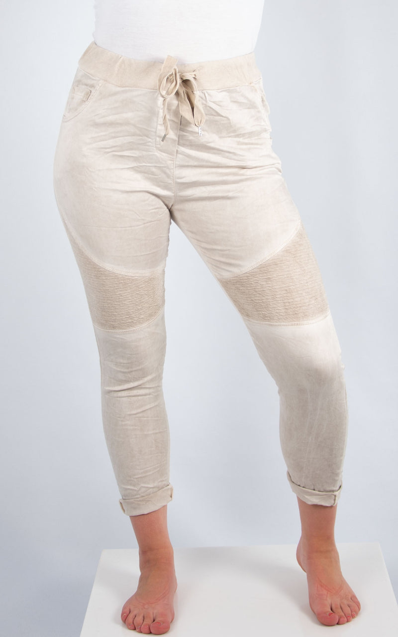 Beige Biker Joggers | Made in Italy