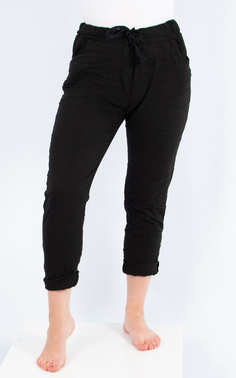 Black Plain Crinkle Jogger | Made in Italy