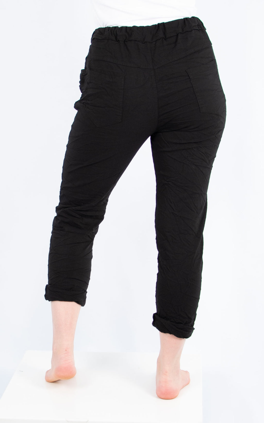 Black Magic Crinkle Jogger | Made in Italy
