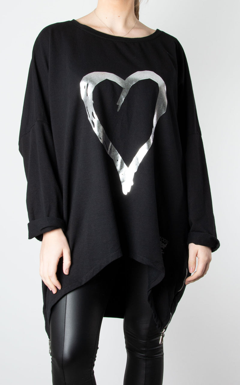 Black Double Zip Heart Sweater