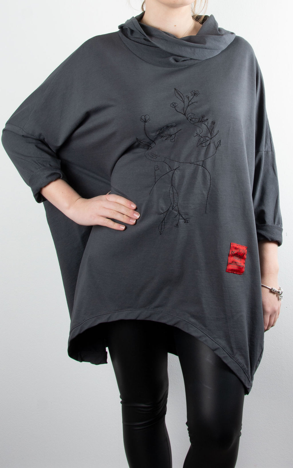 Blossom Face Cowl Sweat | Charcoal