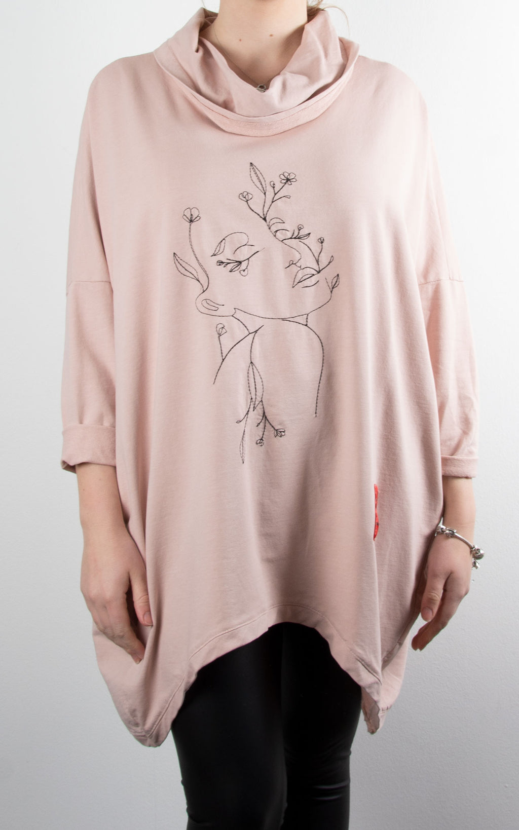 Blossom Face Cowl Sweat | Pink