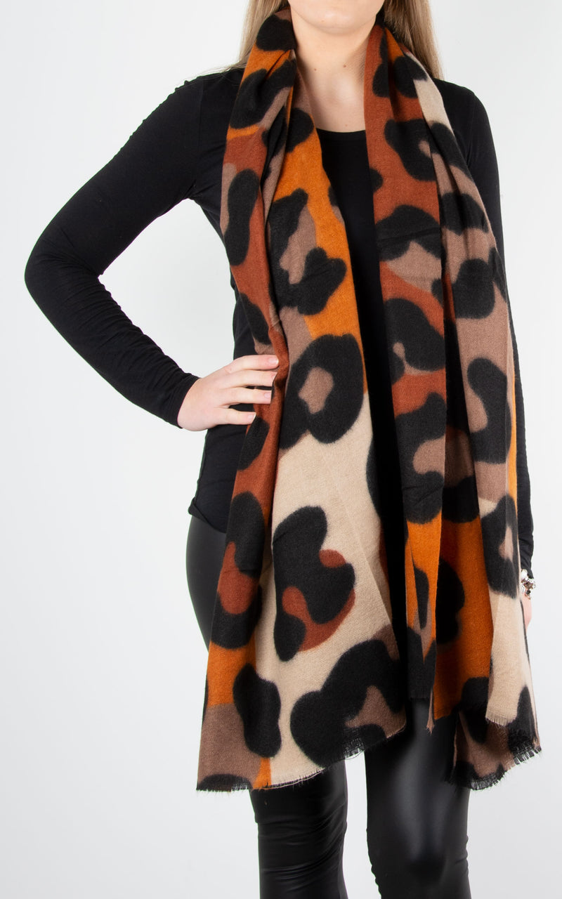 Scarves :Bold Leopard print|Brown\Orange
