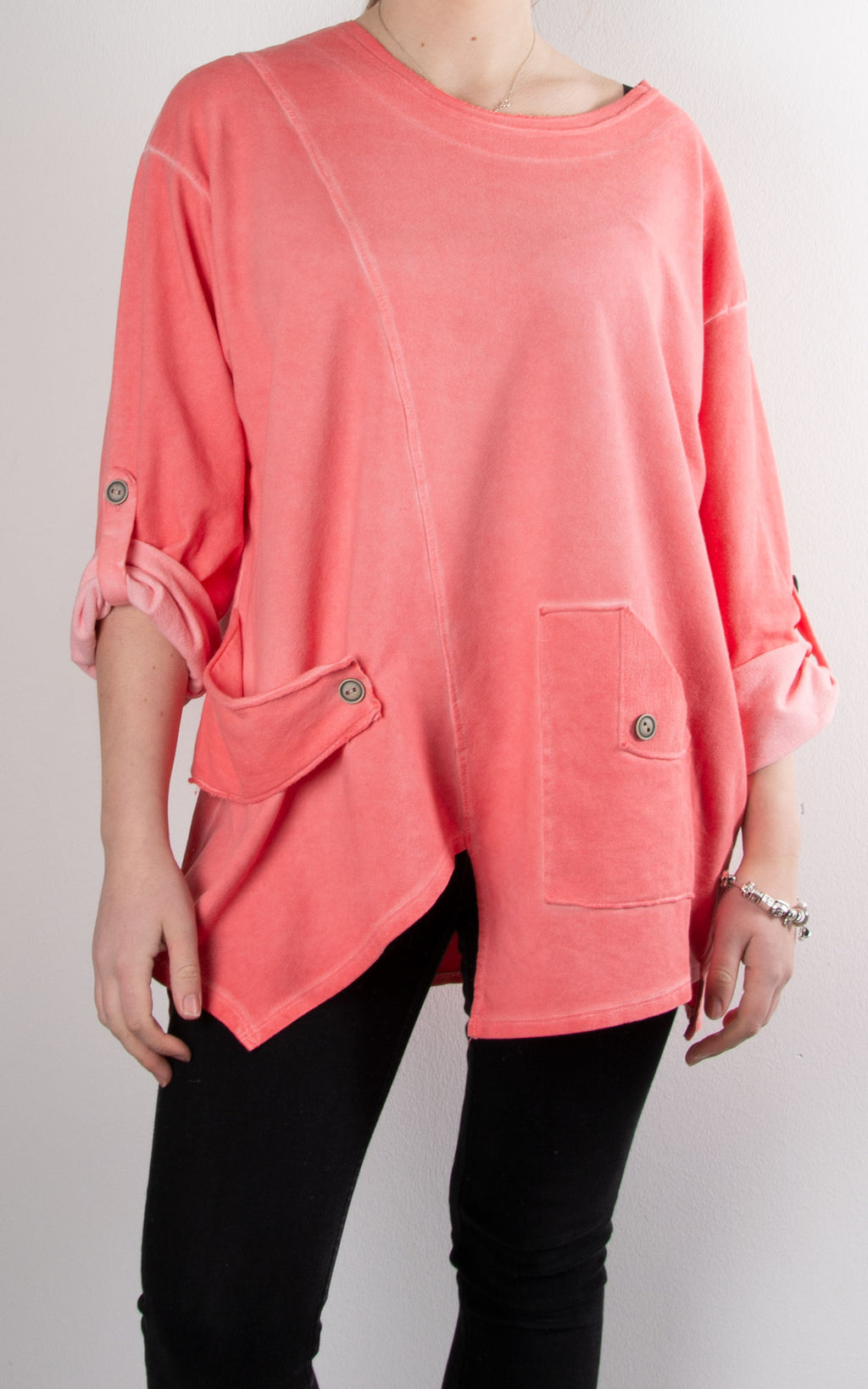 Button Tab Sweat Top | Coral