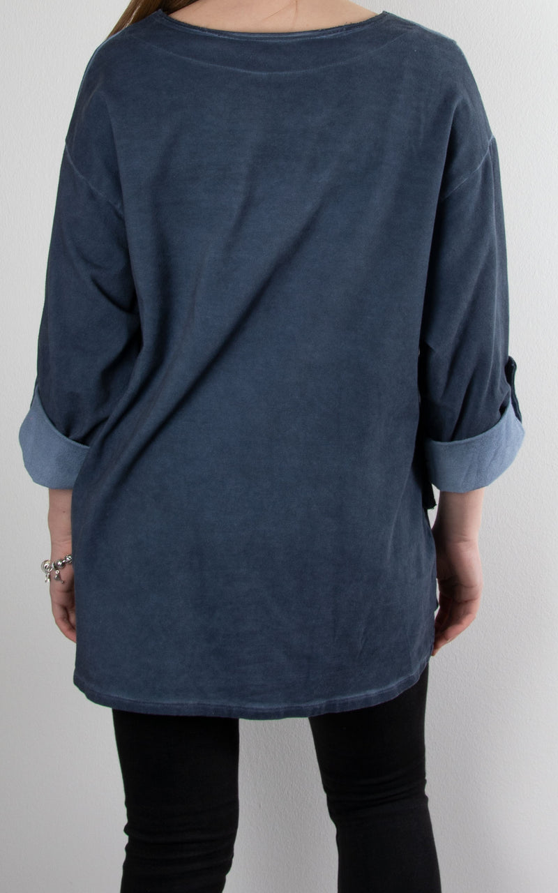 Button Tab Sweat Top | Navy