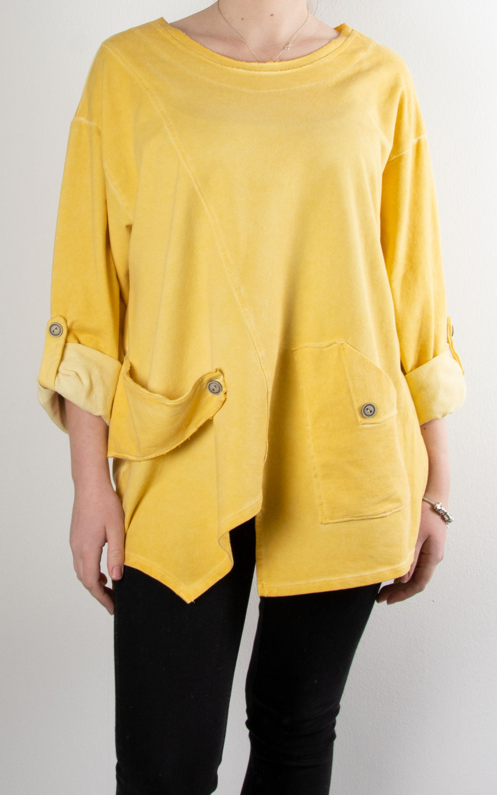 Button Tab Sweat Top | Yellow