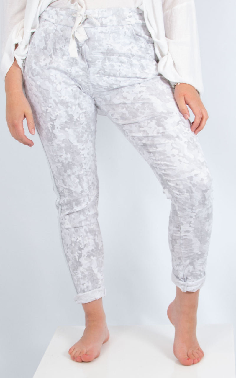 White Camo Print Joggers | Made in Italy