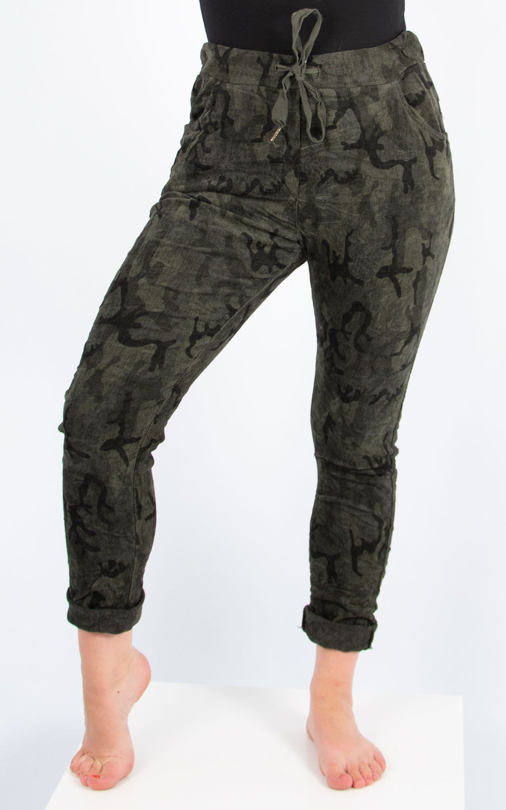 Khaki Camo Cord Joggers | Made in Italy