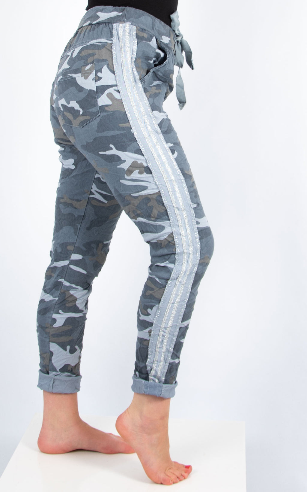Blue Camo Print Joggers | Made in Italy