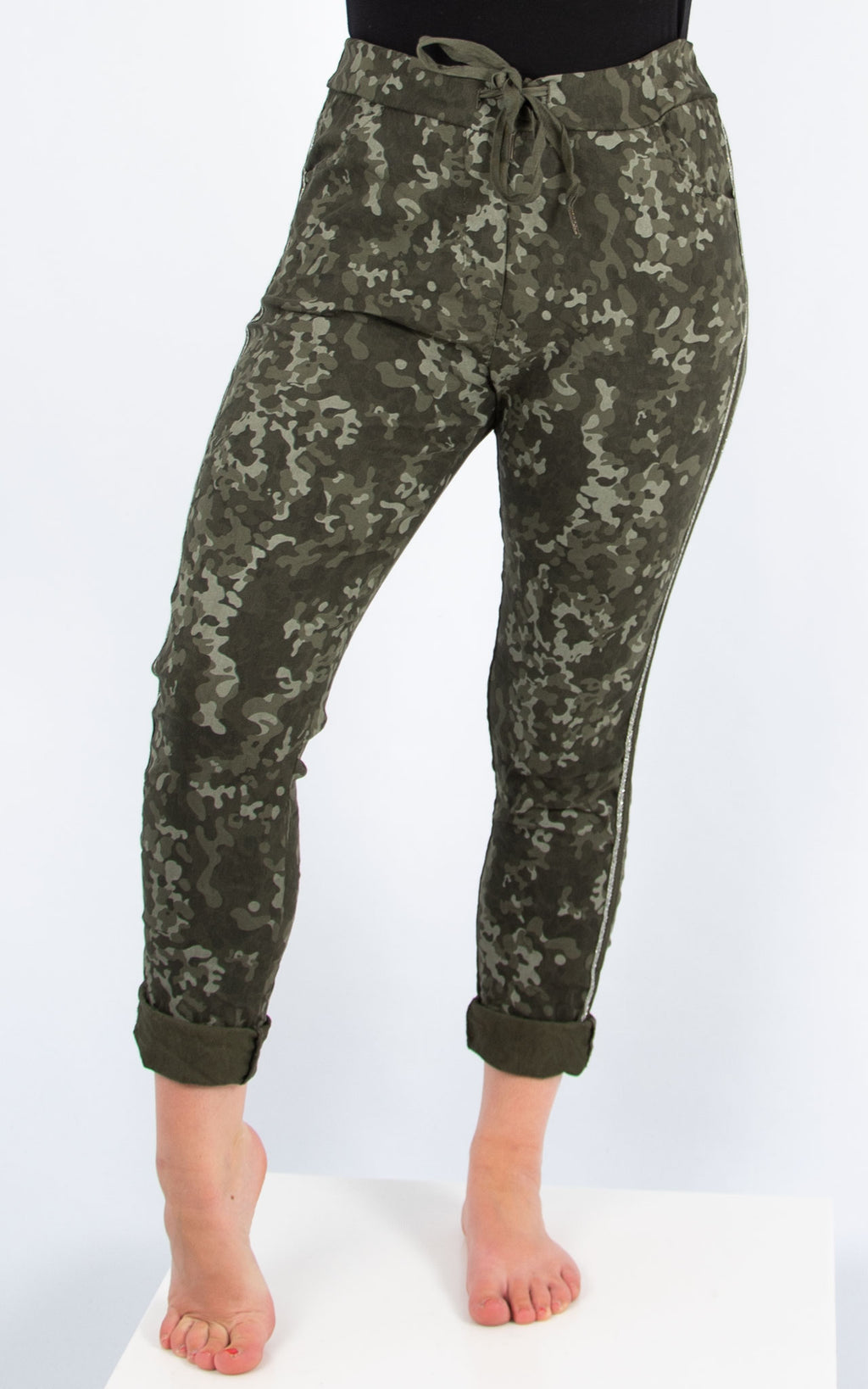 Khaki Camo Print Joggers | Made in Italy