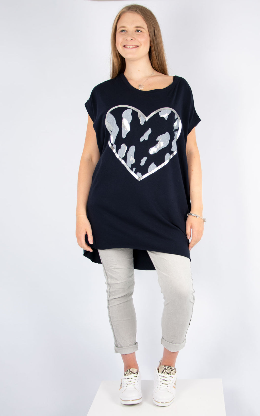 Navy Camo Heart Top | Made in Italy