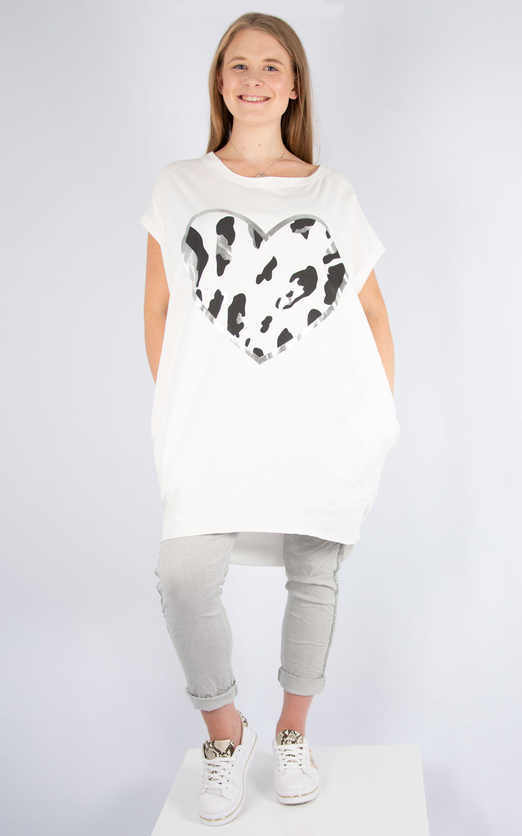 White Camo Heart Top | Made in Italy