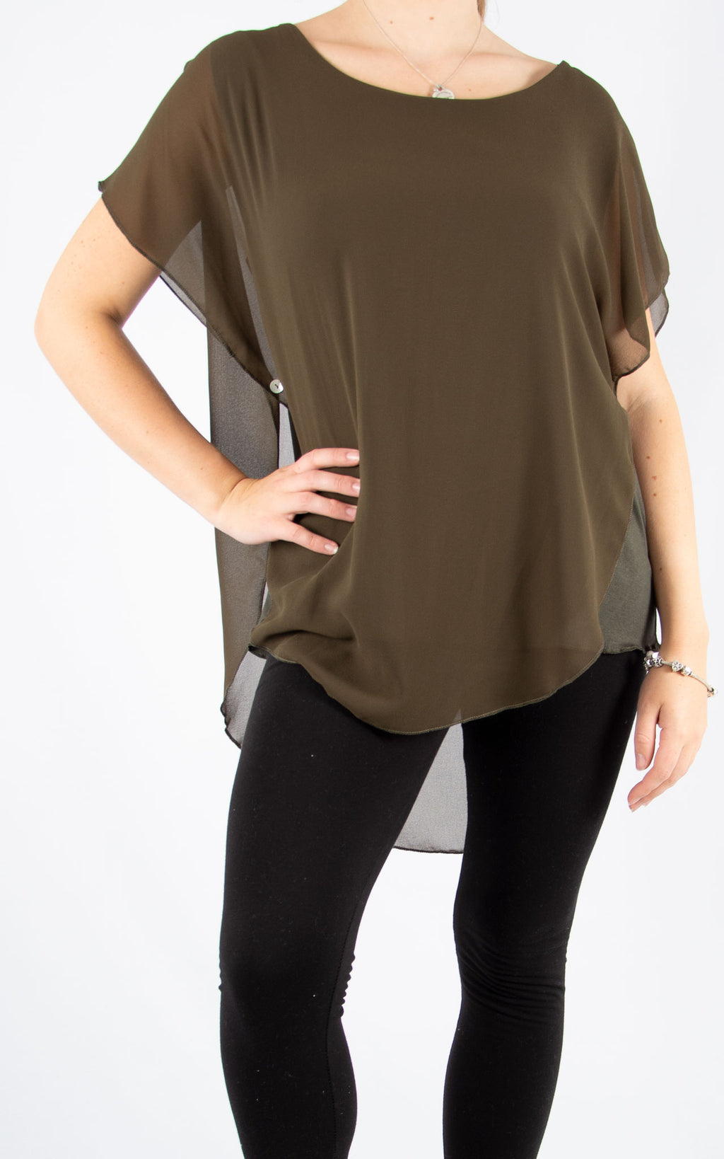 Khaki Carrie Button T | Made In Italy