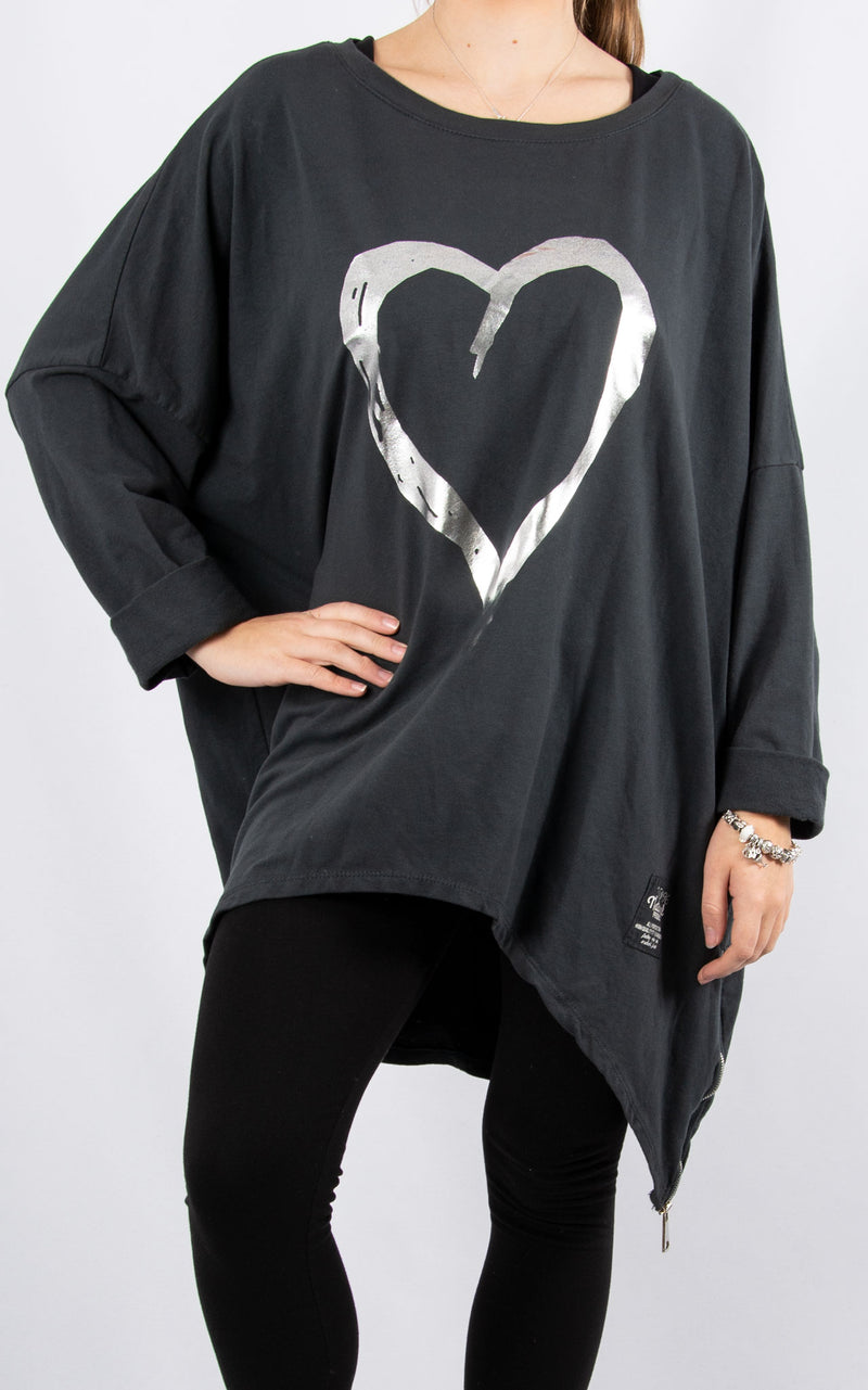 Charcoal Double Zip Heart Sweater