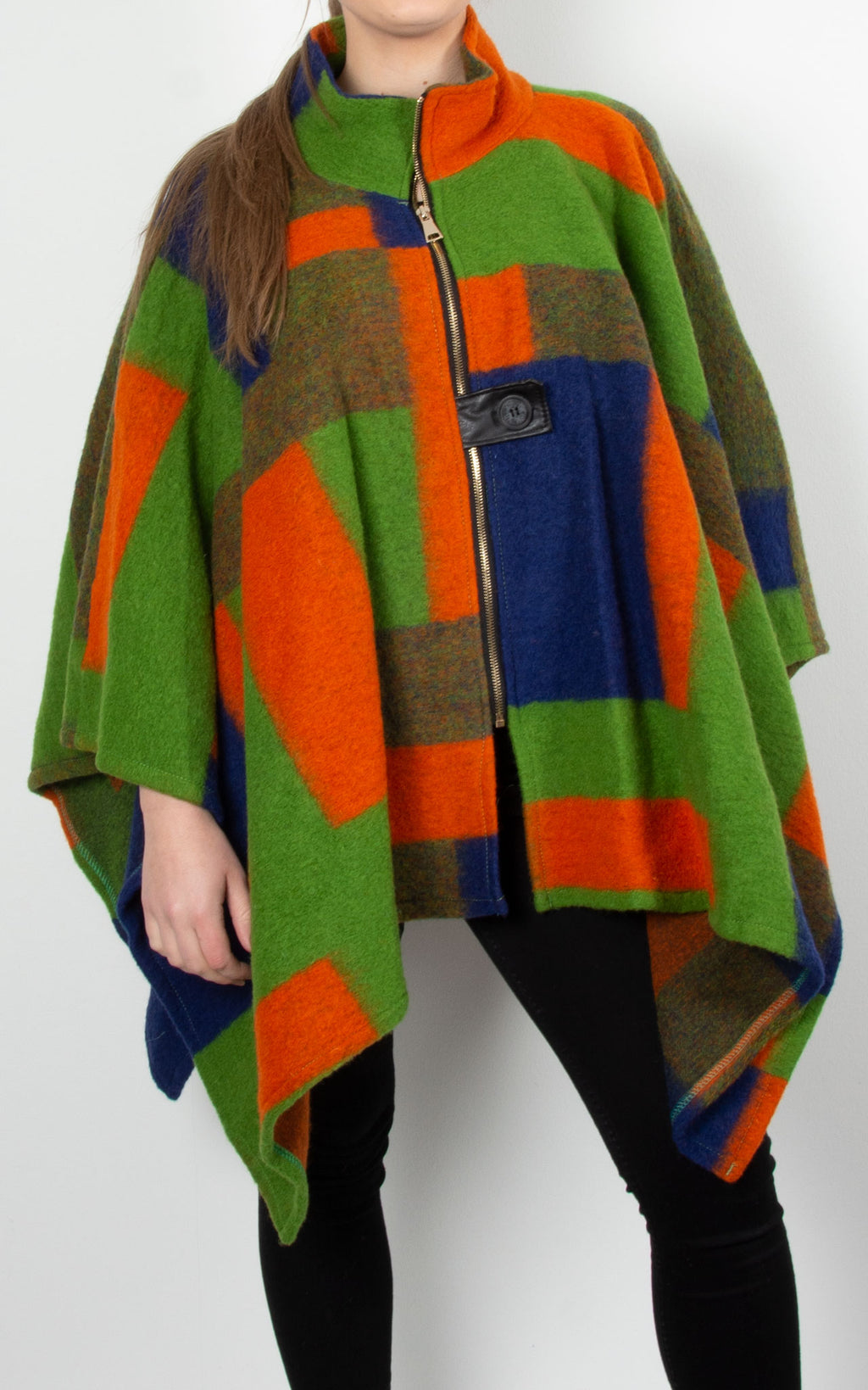 Check Wool Cape | Green & Blue