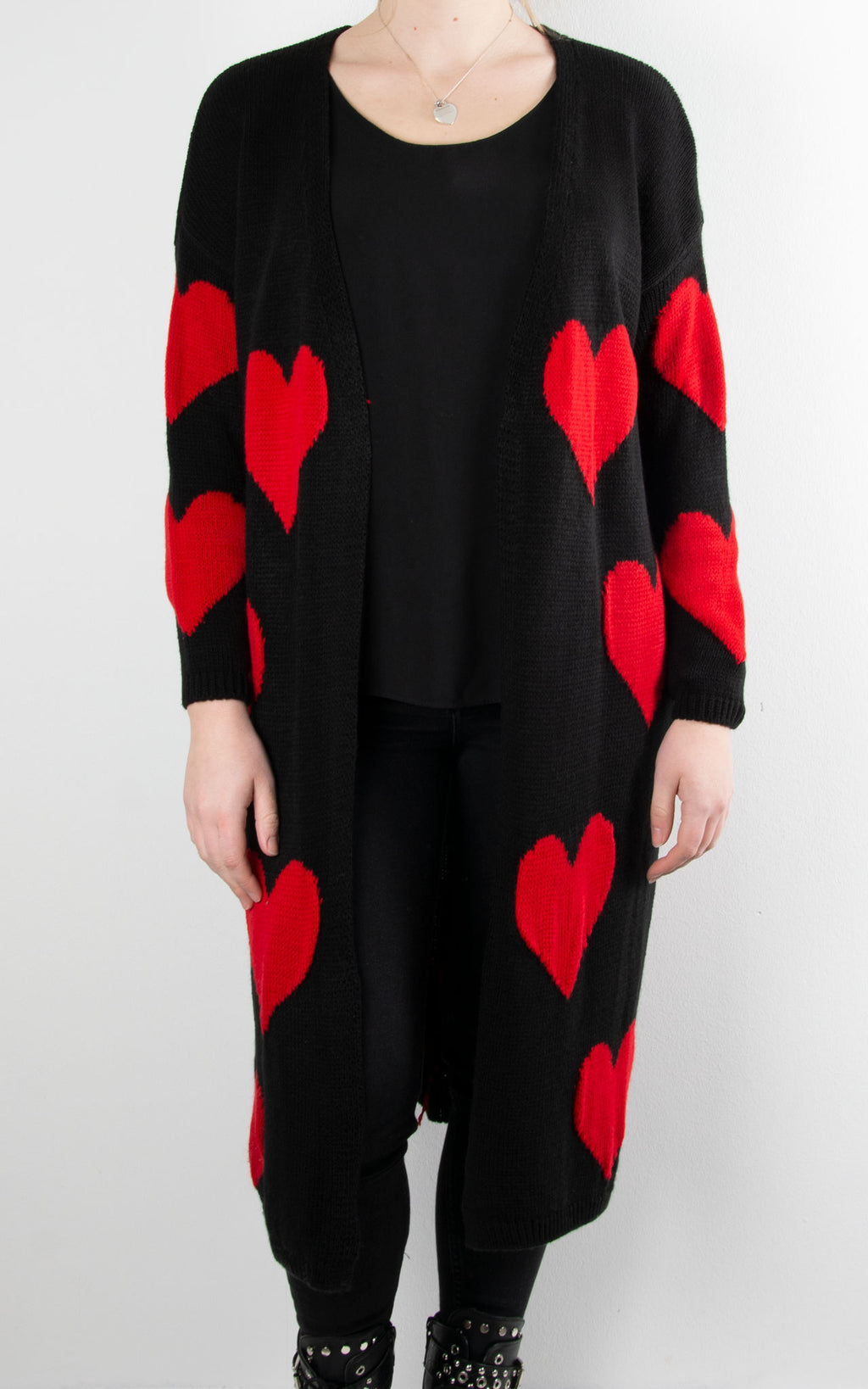 Chunky Knit Heart Cardie | Black