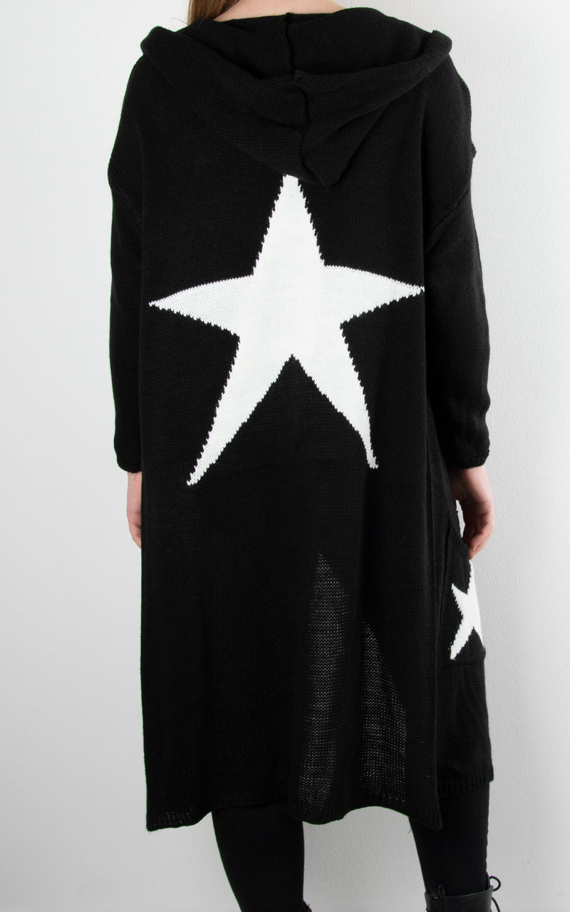 Chunky Knit Star Cardie | Black
