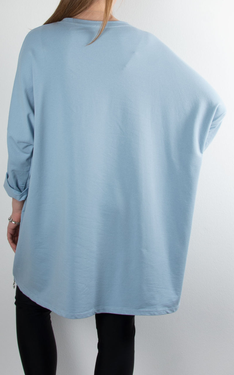 Circle Zip Sweat | Sky Blue