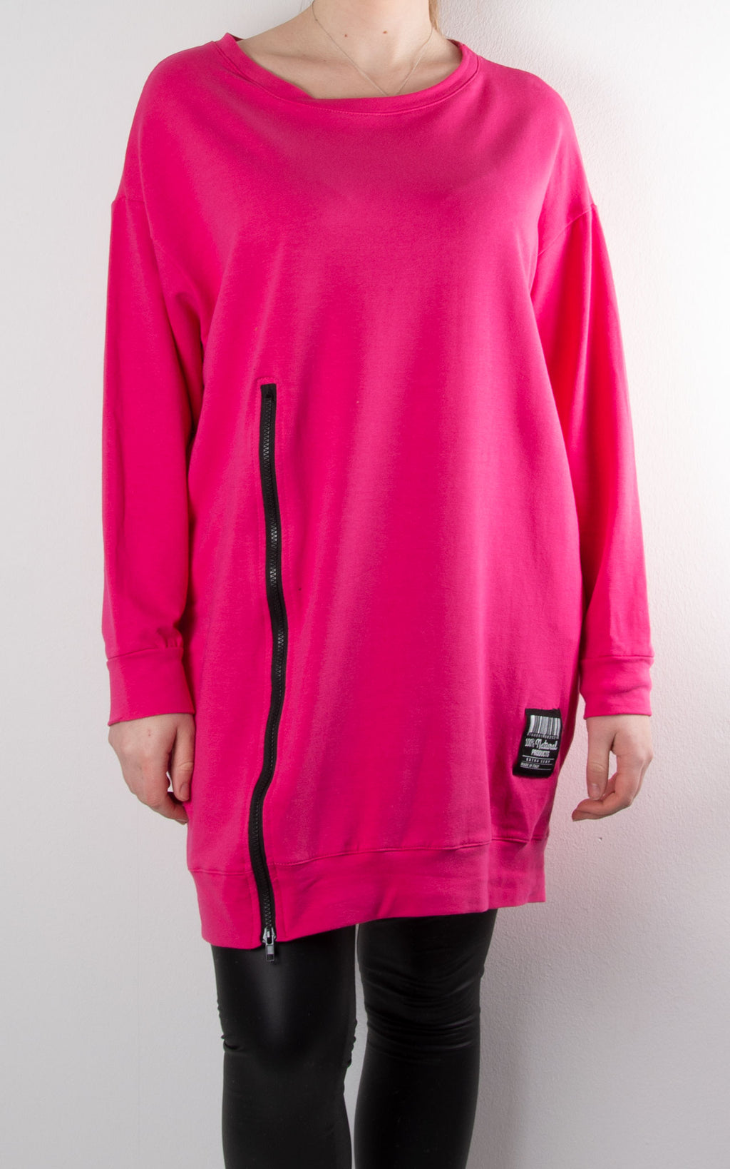 Claudia 1 Zip Sweat | Hot Pink