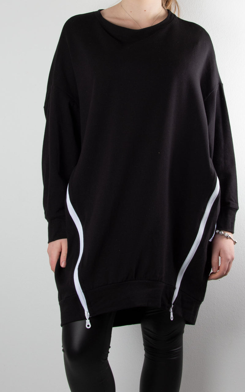 Claudia 2 Zip Sweat | Black