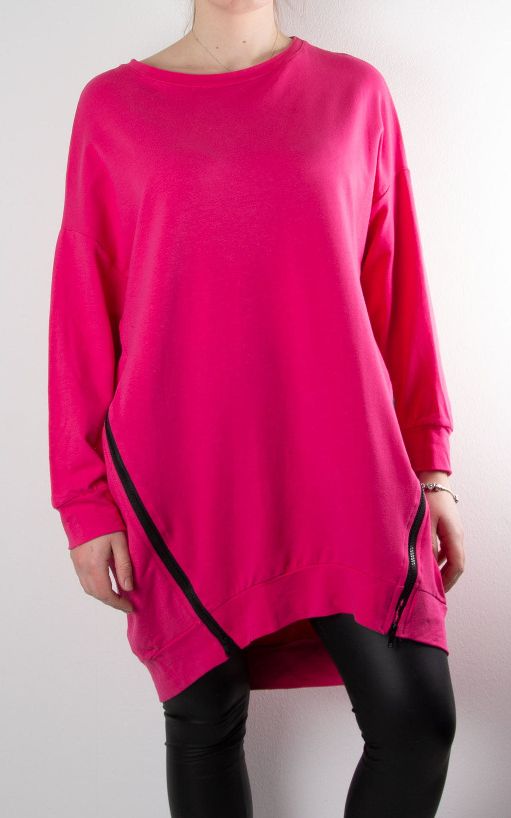 Claudia 2 Zip Sweat | Hot Pink