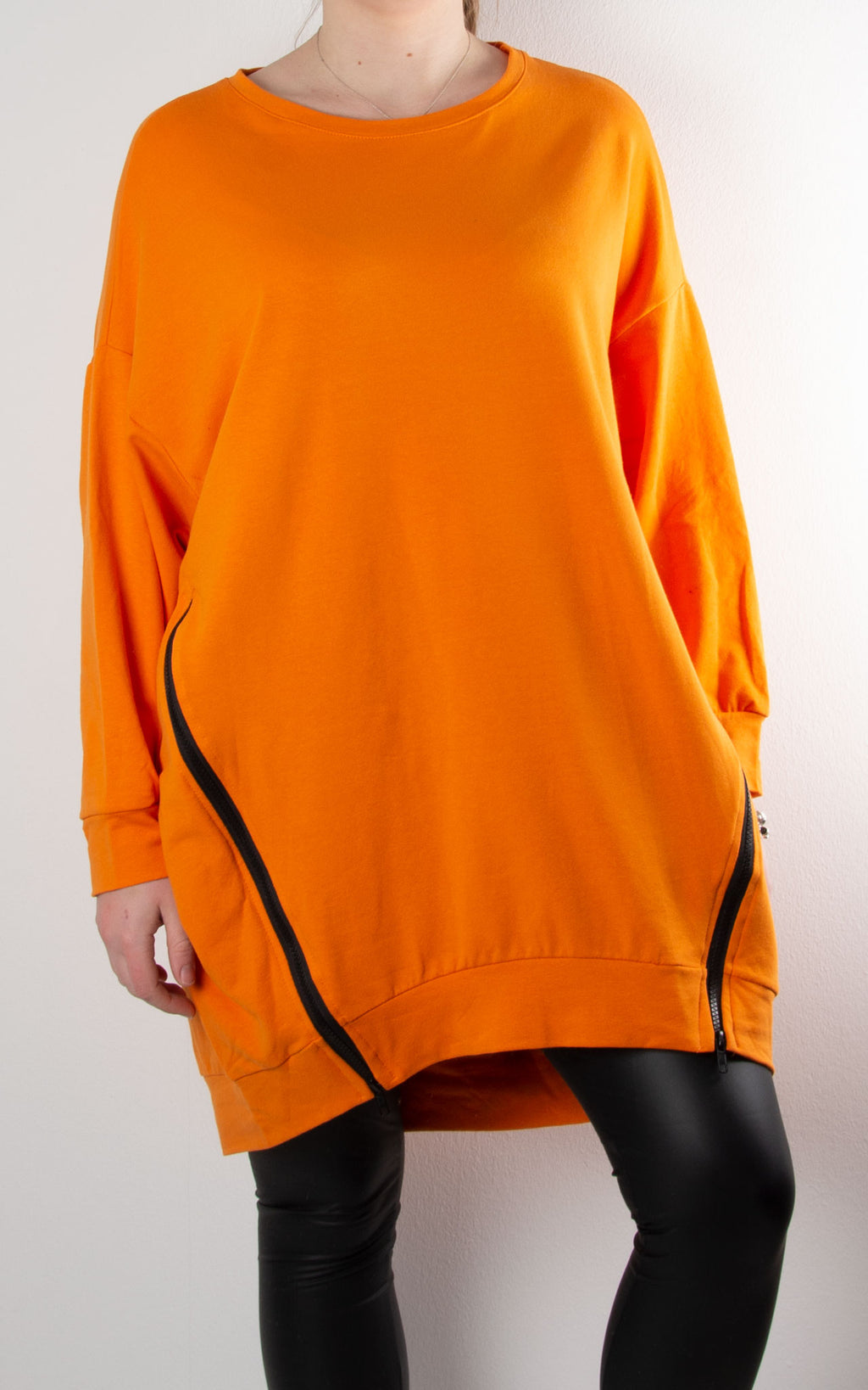 Claudia 2 Zip Sweat | Orange
