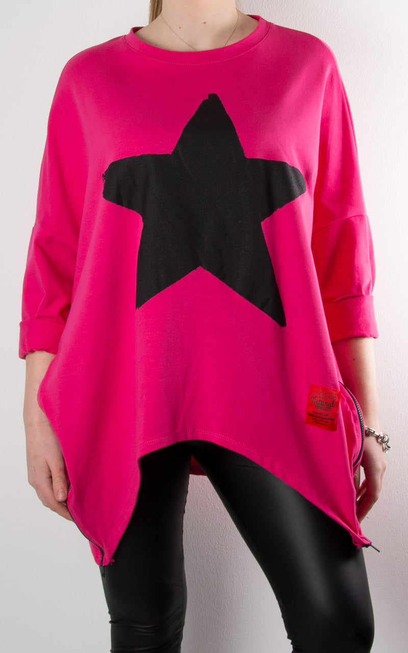 Claudia Star Zip Sweat | Hot Pink