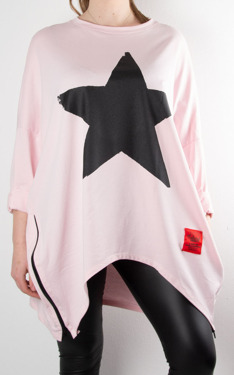 Claudia Star Zip Sweat | Pink