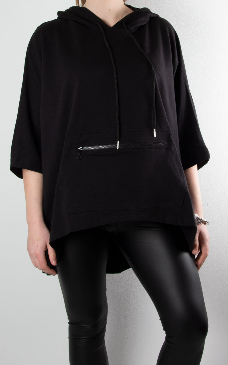 Claudia Zip Pocket Hoodie | Black