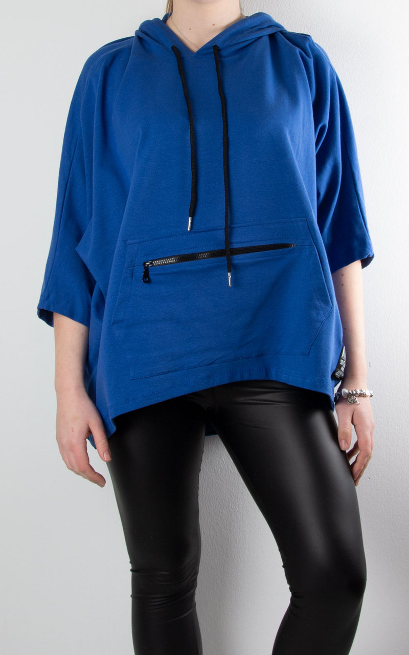 Claudia Zip Pocket Hoodie | Blue